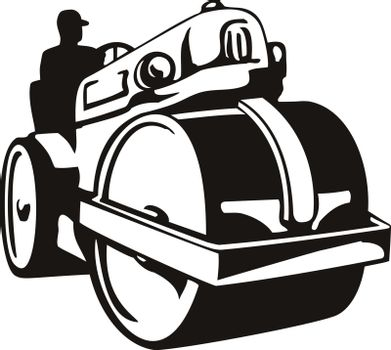 Retro woodcut style illustration of a vintage road roller, roller-compactor or steamroller, a compactor-type engineering vehicle used  in road construction on isolated background in black and white.