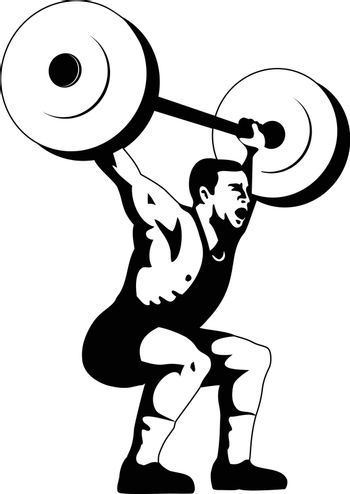 Retro woodcut style illustration of a weightlifter lifting barbell viewed from side on isolated background done in black and white.