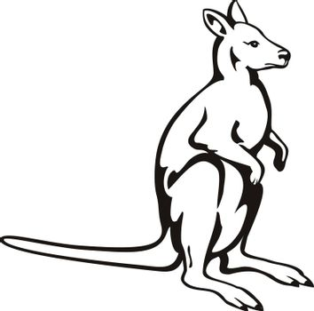 Retro woodcut style illustration of a kangaroo or wallaby, a small or middle-sized macropod native to Australia and New Guinea, viewed from side on isolated background done in black and white.