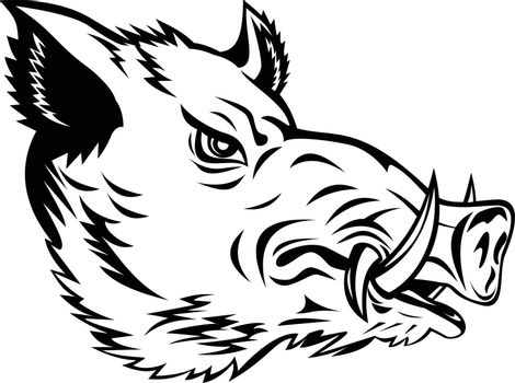 Mascot illustration of head of a wild boar, Sus scrofa, wild swine, common wild pig, a suid native to the Palearctic viewed from side on isolated background in retro black and white style.