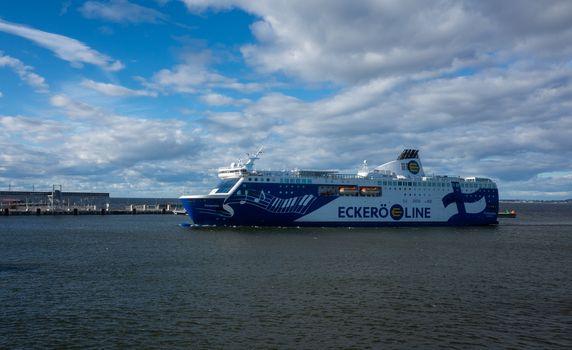 21 April 2019, Tallinn, Estonia. High-speed passenger and car ferry of the Finnish shipping concern Eckerš Line Finlandia in the port of Tallinn.
