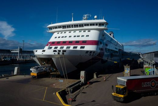 23 April 2019, Tallinn, Estonia. Special equipment calls in high-speed passenger and car ferry of the Estonian shipping concern Tallink Baltic Queen in the port of Tallinn.