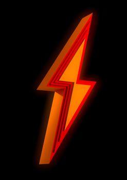 Orange beveled lightening bolt sign isolated on black background. Electricity and power symbol. 3D render illustration