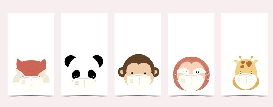 Cute background for social media.Set of instagram story with fox,panda,monkey,sloth,giraffe are wearing mask