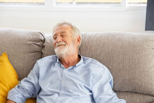 Happy senior retirement old man smiling while sitting at the sofa in his home