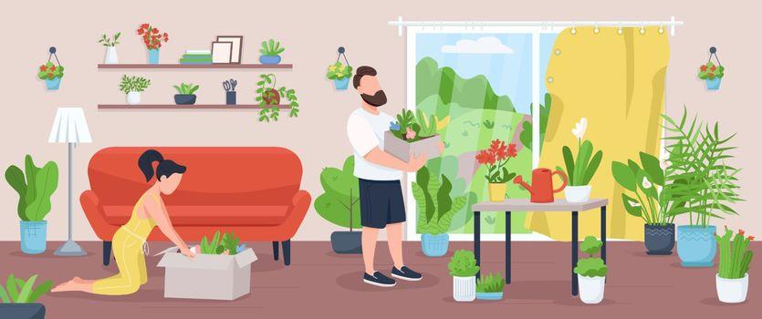 Home garden flat color vector illustration