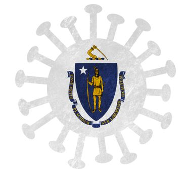 State flag of Massachusetts with corona virus or bacteria