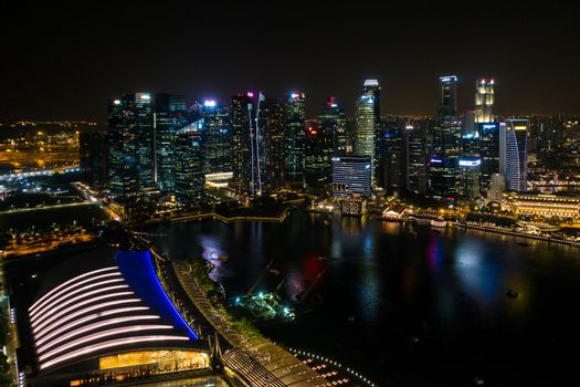 Singapore - 10 June 2018: Night top view of  Singapore City, wide angel of The National Symbol Of Singapore