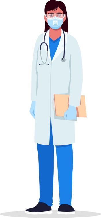 Virologist semi flat RGB color vector illustration. Infectious disease specialist. Young hispanic woman working as infectious disease doctor isolated cartoon character on white background