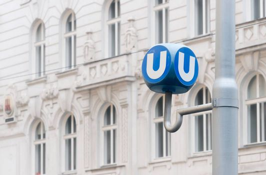 Transportation station in Vienna, Austria. Sign of  u bahn transport system. Europe travel.