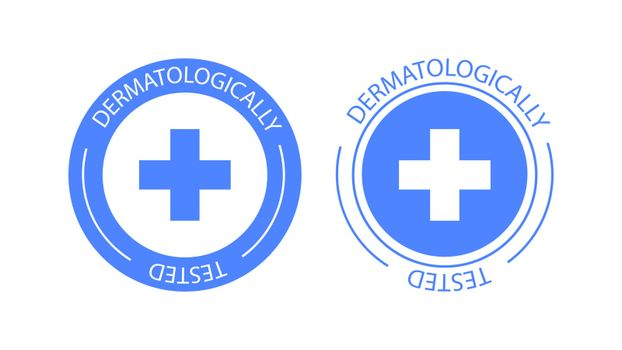 Dermatologically tested vector label logo. Dermatology test and dermatologist clinically proven icon for allergy free and healthy safe product package tag EPS