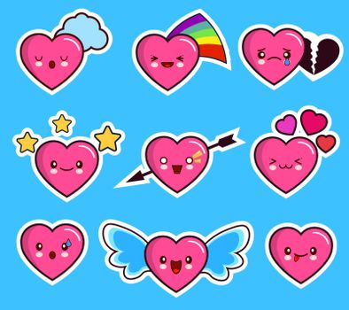funny heart emoticon icon set valentine s day. kawaii. Flat design Vector Illustration