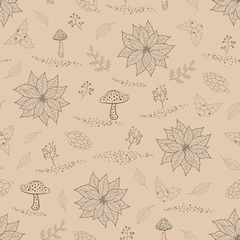 Hand drawn seamless pattern with autumn leaves,berries and mushrooms on the beige background,vector illustration