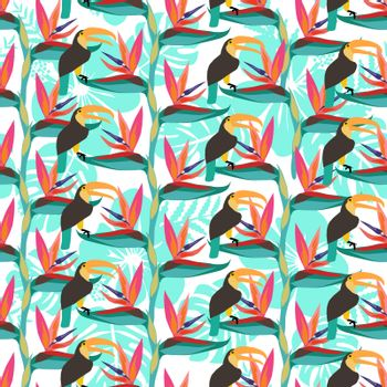 Pattern with Bird of paradise flower tropical plant and with toucan bird. The bird of paradise floweris exotic flowers seamless background.