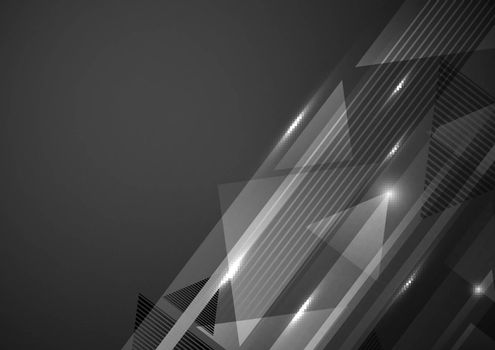 Abstract modern geometric pattern with lighting on dark background. Technology concept. Vector illustration