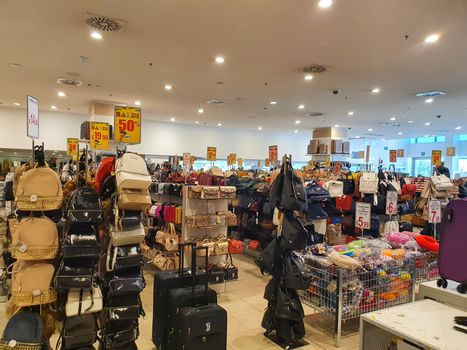 terni.italy august 23 2020:in-store leather goods during sales periods