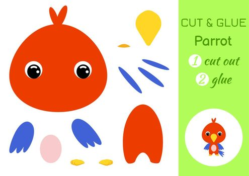 Cut and glue baby parrot. Education developing worksheet. Color paper game for preschool children. Cut parts of image and glue on paper. Cartoon character. Colorful vector stock illustration.