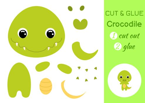 Cut and glue baby crocodile. Education developing worksheet. Color paper game for preschool children. Cut parts of image and glue on paper. Cartoon character. Colorful vector stock illustration.