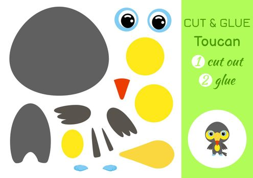 Cut and glue baby toucan. Education developing worksheet. Color paper game for preschool children. Cut parts of image and glue on paper. Cartoon character. Colorful vector stock illustration.