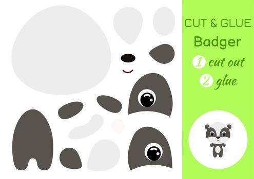Cut and glue baby badger. Education developing worksheet. Color paper game for preschool children. Cut parts of image and glue on paper. Cartoon character. Colorful vector stock illustration.