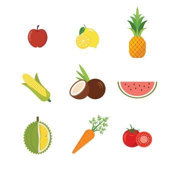 Seasonal exotic fruits icons set