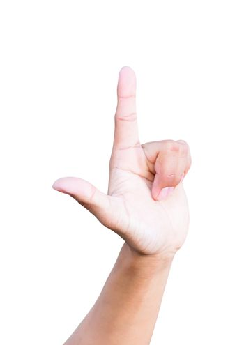 hand loser symbols showing on white background