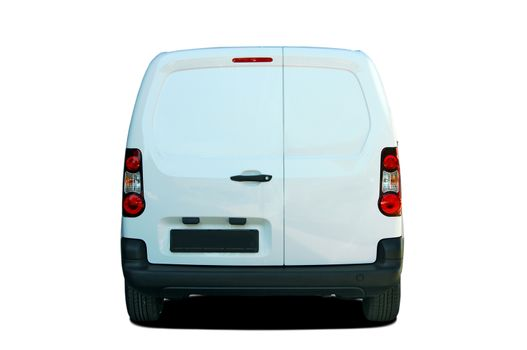 White delivery van rear view
