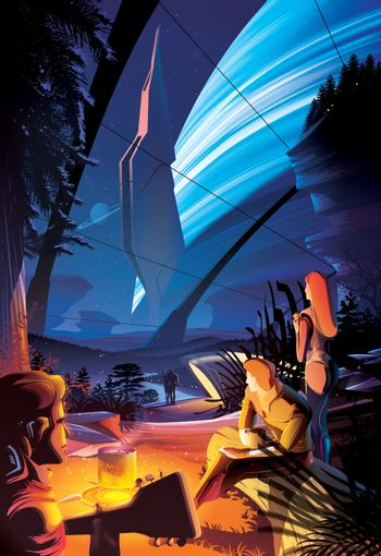 Futuristic campfire on other planet