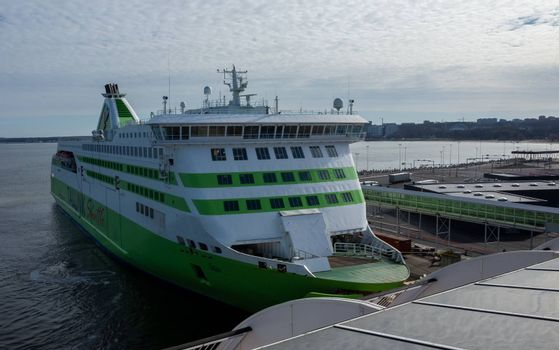 23 April 2019, Tallinn, Estonia. High-speed passenger and car ferry of the Estonian shipping concern Tallink Star in the port of Tallinn.