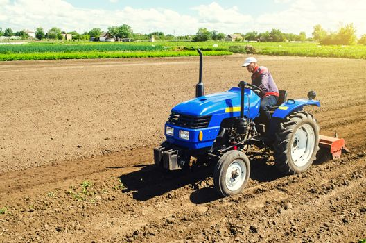 Farmer on a tractor with a milling machine processes loosens soil in the farm field. Grind and mix soil on plantation. Preparation for new crop planting. Loosening surface, cultivating the land.