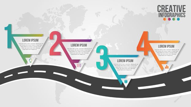 World map business infographics 5 step options vector illustration and design template with pointer marks.Can be used for communication connect, workflow layout, banner, diagram, number, web design.