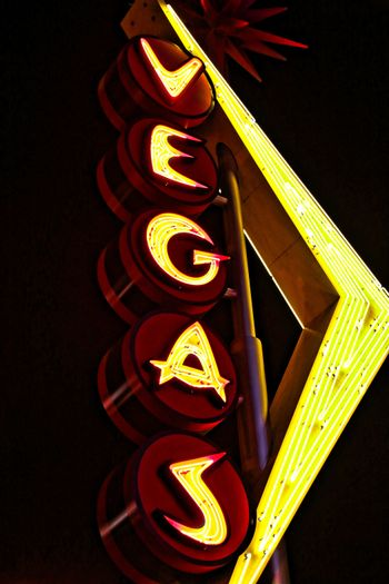 Vegas giant neon sign  on display above the street near Fremont Street Experience in Las Vegas.