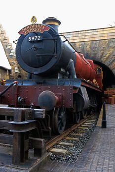 OSAKA , JAPAN - Jan 19,2019 : The Hogwarts express train at the Wizarding World of Harry Potter in Universal Studios Japan.