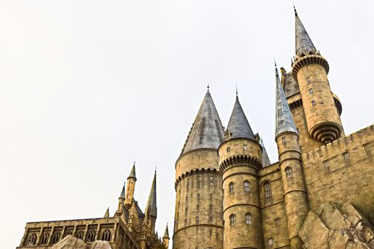 Osaka, Japan - Dec 02, 2017: View of Hogwarts castle at the Wizarding World of Harry Potter in Universal Studios Japan.