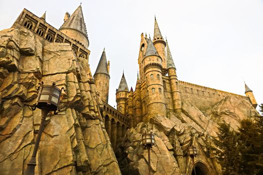 Osaka, Japan - Aug 15, 2020: View of Hogwarts castle at the Wizarding World of Harry Potter in Universal Studios Japan.