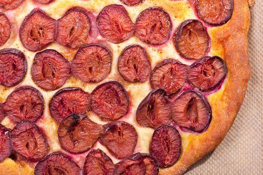 overview of slice of bavarian plumcake