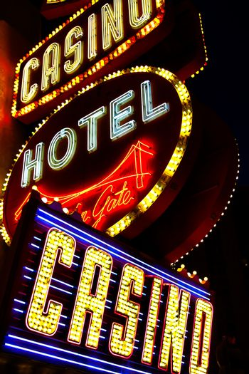 LAS VEGAS,NV - Sep 16, 2018: Golden Gate Hotel & Casino sign illuminated by night in Las Vegas. It is the oldest and smallest hotel located on the Fremont Street Experience.