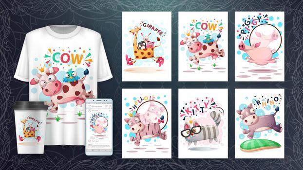 Cute animals jump - set animals for your idea. Vector eps 10