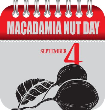Calendar with perforation for changing dates - september Macadamia Nut Day