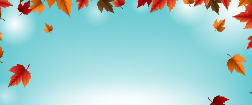 Autumn Banner With Colorful Leaf Blur Background With Gradient Mesh, Vector Illustration
