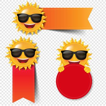 Red Banner With Sun Isolated White Background With Gradient Mesh, Vector Illustration