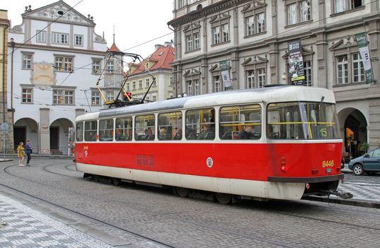 Prague, Czech Republic on july 8, 2020: Red retro tram on the st