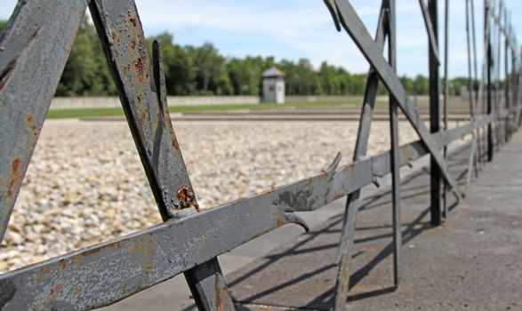 Dachau, Germany on july 13, 2020: Fence of the Jewish Memorial a