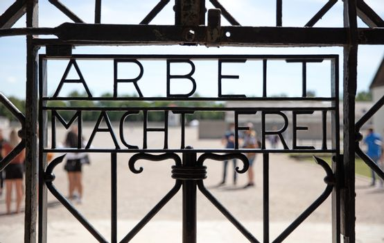 Dachau, Germany on july 13, 2020: Dachau concentration camp entr