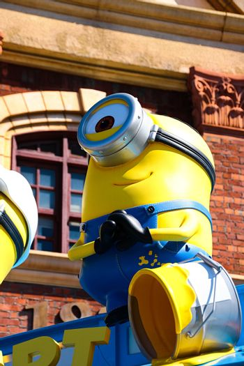 "OSAKA, JAPAN - Feb 19, 2020 : Statue of ""HAPPY MINION"", located in Universal Studios Japan, Osaka, Japan. Minions are famous character from Despicable Me animation."