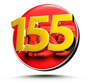 3D illustration Golden number 155 isolated on a white background.(with Clipping Path).