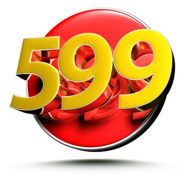 3D illustration Golden number 599 isolated on a white background.(with Clipping Path).