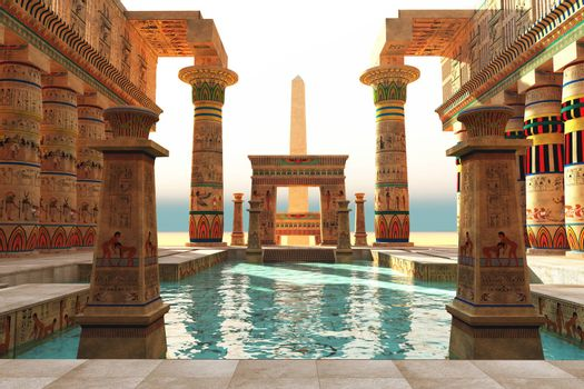 Ornate Egyptian architecture with hieroglyphs surround a pool in historical Egypt with an obelisk standing guard.