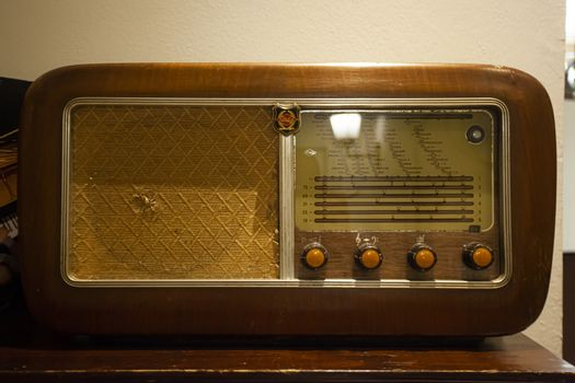 Old and Vintage wooden radio equipment detail