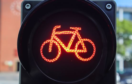 Green and red traffic lights for pedestrian and bicycles
